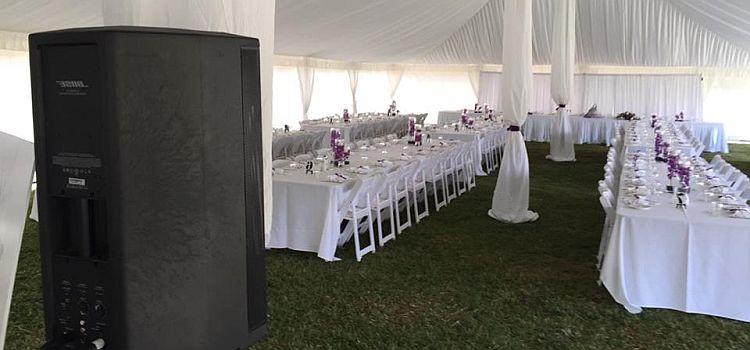 Bose F1 speakers at marquee wedding reception