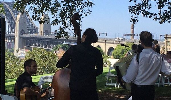 Outdoor wedding ceremony with live band