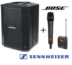 Bose S1 Pro battery powered speaker with wireless microphone.