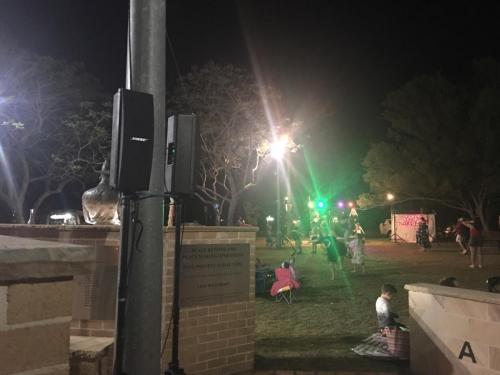Christmas carols, Warragamba.  Bose 802 main speakers, Bose 402 delay speakers, RCF monitors, LED lights, staging.