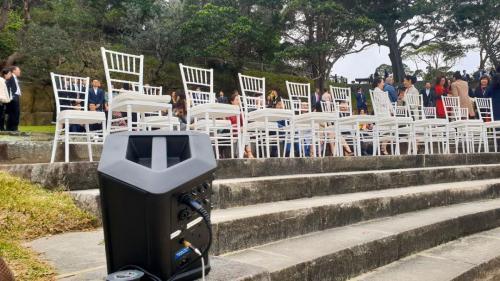 Bradleys Head Wedding, Bose S1 speakers ground mounted.