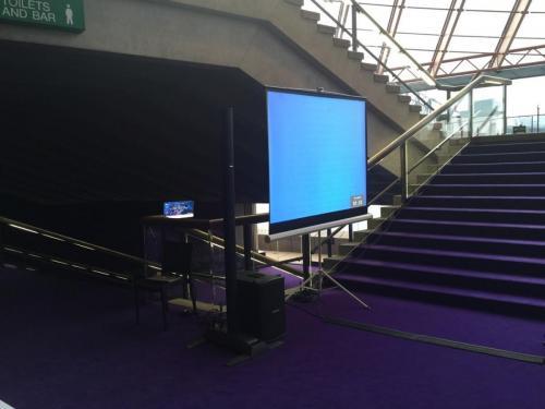 1.8m projector screen, 2600 lumen projector.  Wedding at Sydney Opera House.