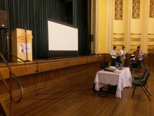 2.9m pull up projector screen. Petersham Town Hall.