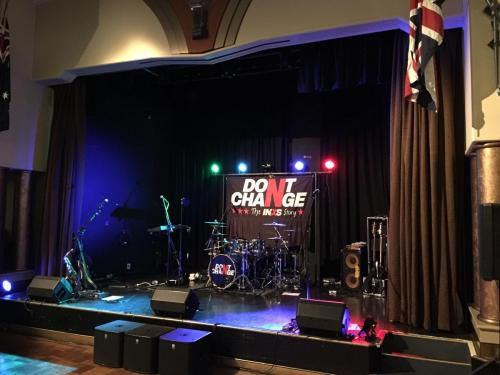 INXS tribute band, North Ryde RSL.   Bose F1 speakers, EV subs, Mackie DL1608 mixer, lighting.