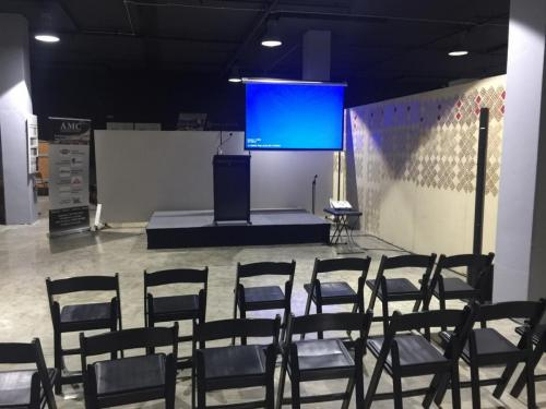 The Coffee Symposium, St Peters. 3m x 2m stage, lectern, 2.2m screen, Epson 3000 projector.