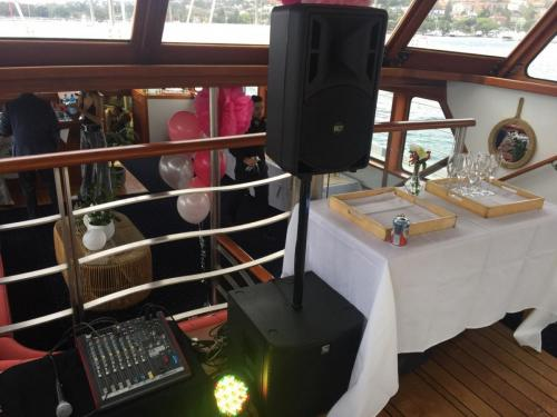 Ferry cruise 21st birthday.   RCF speakers, EV subs, LED lights.
