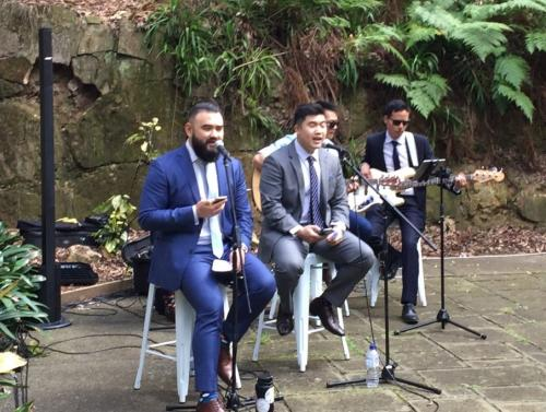Wedding at Swain Gardens, Killara with live band.   Bose L1 Compact speakers with battery packs.