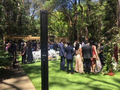 Outdoor wedding at Swain Gardens, Killara.   Bose L1 Compact speaker.