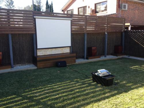 1.8m screen & 2600 lumen projector for outdoor movie night, Epping.