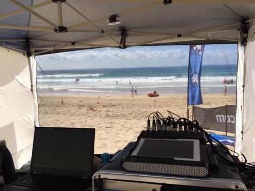 Surf rowing championships at Cronulla.  Mackie DL1608 digital mixer.