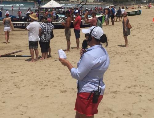 Surf rowing championships at Cronulla.   Sennheiser G3 hand held wireless microphone.