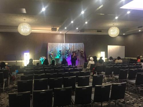 Church conference at Holiday Inn, Warwick Farm.  Yamaha DBR12 speakers, Shure SM58 mics, Allen & Heath ZED16FX mixer, stage lighting.