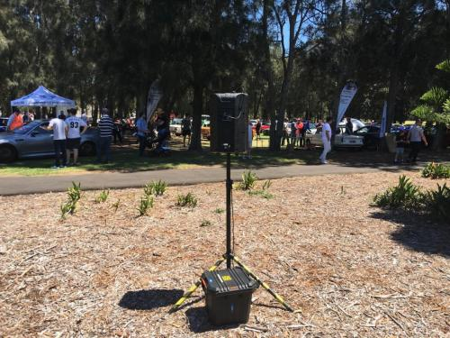 RCF 310A speaker, battery pack & wireless link at Sydney German Autofest 2019, Earlwood.