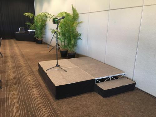 Corporate function at Rosehill racecourse.  Staging, Bose S1 speakers & Sennheiser wireless mic.