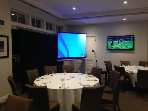 1.8m projector screen, 2600 lumen projector.  Breakfast corporate seminar, Breakfast Point Country Club.