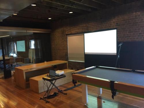 1.9m pull-up projector screen, Sydney CBD.