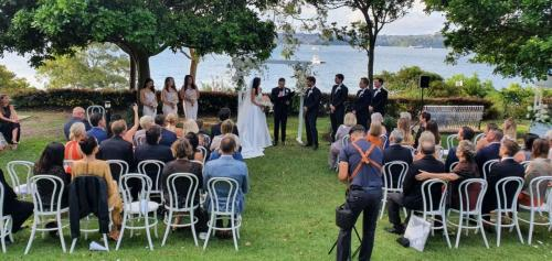 Outdoor wedding at McKell Park, Darling Point.  Supplied 2 x Bose S1's  & wireless mic.