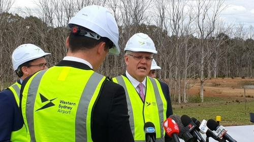 PM Morrison.  Badgery's creek airport commencement ceremony.   Sennheiser hand held wireless microphone.