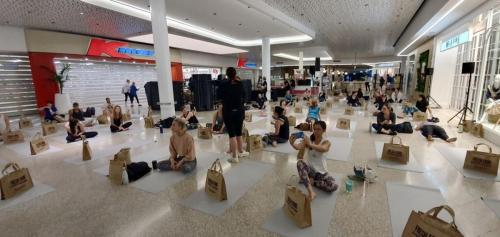 Bose S1 Pro speakers at South Gate shopping centre, Sylvania Yoga event.