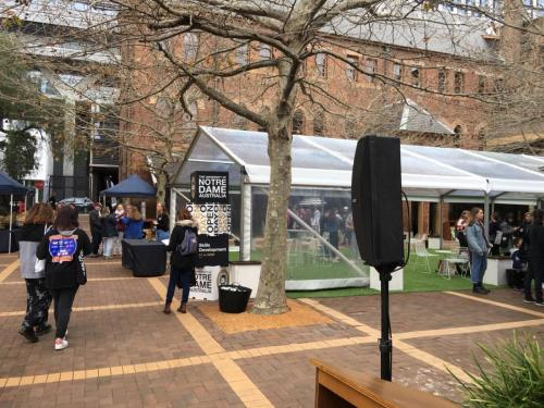 Bose 402 speakers at Uni of Notre Dame open day, Broadway.